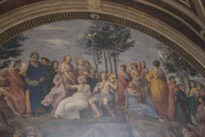 The Parnassus, by Raphael.  Depicts Apollo and famous Renaissance poets